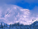 Mount Rainier Nationall Park, WA   <br /> Clearing winter storm clouds reveal the mountain's summit and Gibralter Rock above snow covered forest at Paradise