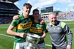 17-1-2017: Four goal hero, Team Captain and Man of the Match, David Clifford from Fossa Killarney and Barry Mahony with the Tommy Markem Cup following Kerry's four-in-a-row All-Ireland titles  at Croke Park on Sunday.<br /> Photo: Don MacMonagle