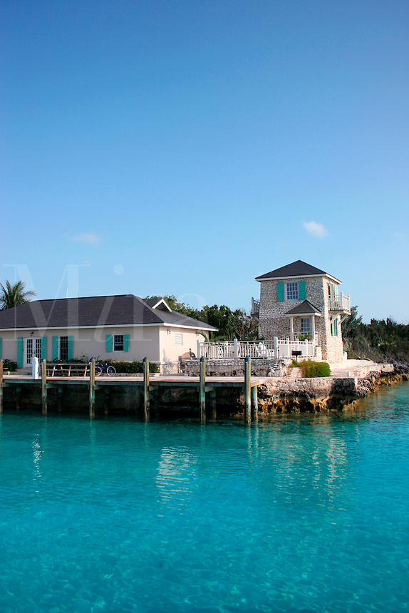The dock and guest facilities at Sampson Cay Club on Sampson Cay, Exuma Islands, Bahamas
