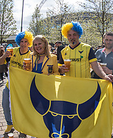 Oxford United supporters ahead of the The Checkatrade Trophy / EFL Trophy FINAL match between Oxford United and Coventry City at Wembley Stadium, London, England on 2 April 2017. Photo by Kevin Prescod.