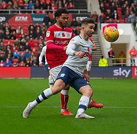 Preston North End's Sean Maguire (right)  under pressure from  Bristol City's Jay Dasilva (left) <br /> <br /> Photographer David Horton/CameraSport<br /> <br /> The EFL Sky Bet Championship - Bristol City v Preston North End - Saturday 10th November 2018 - Ashton Gate Stadium - Bristol<br /> <br /> World Copyright &copy; 2018 CameraSport. All rights reserved. 43 Linden Ave. Countesthorpe. Leicester. England. LE8 5PG - Tel: +44 (0) 116 277 4147 - admin@camerasport.com - www.camerasport.com
