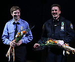 Michael Cera, Chris Evans during the the Broadway Opening Night Performance curtain call for 'Lobby Hero' at The Hayes Theatre on March 26, 2018 in New York City.