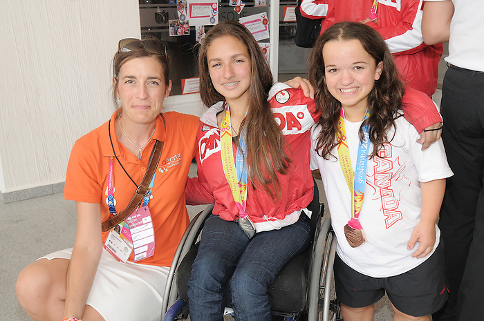 November 18 2011 - Guadalajara, Mexico:   Sarah White and Danielle Kisser pose for a photo during a tour of the Athlete's Village at the 2011 Parapan American Games in Guadalajara, Mexico.  Photos: Matthew Murnaghan/Canadian Paralympic Committee
