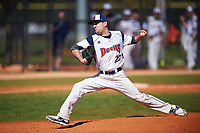 FDU-Florham Devils relief pitcher Matt Zingaro (23) delivers a pitch during the first game of a doubleheader against the Farmingdale State Rams on March 15, 2017 at Lake Myrtle Park in Auburndale, Florida.  Farmingdale defeated FDU-Florham 6-3.  (Mike Janes/Four Seam Images)