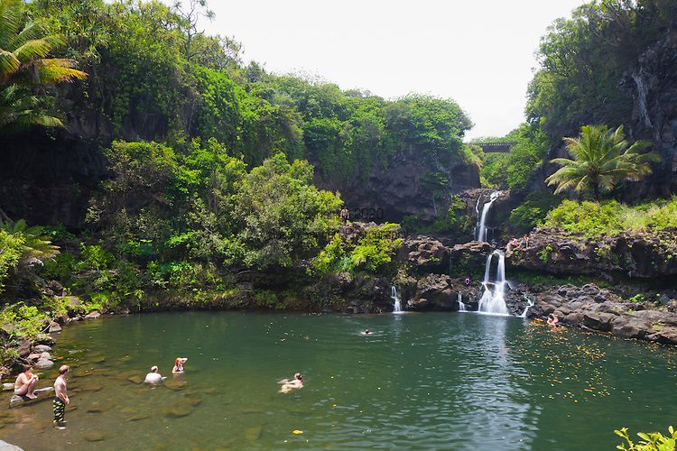 Swimming in the freshwater streams and waterfalls in the Oheo Gulch, Haleakala National Park, Maui, Hawaii