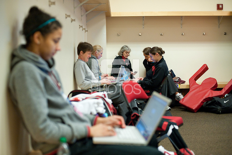 FRESNO, CA--Members of the staff wait for their designated time slot during a practice day in preparation to take on Duke at the Save Mart Center for the West Regionals Championships of the 2012 NCAA Championships.