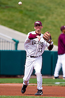 Kevin Medrano (13) of the Missouri State Bears throws to first during a game against the Oral Roberts Golden Eagles on March 27, 2011 at Hammons Field in Springfield, Missouri.  Photo By David Welker/Four Seam Images