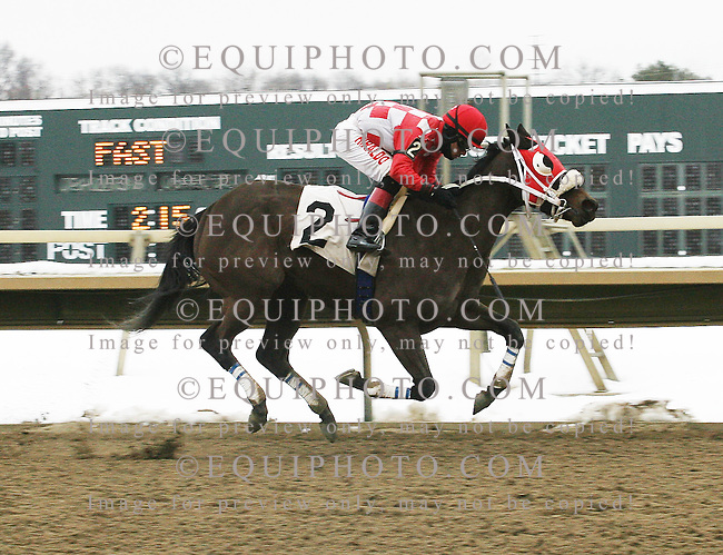 Aunt Ellipsis #2 with Luis Hiraldo riding won the $75,000 Donna Freyer Stakes at Parx Racing in Bensalem, Pennsylvania February 8, 2014.  Photo By Barbara Weidl / EQUI-PHOTO