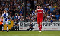 Aiden O'Neill of Fleetwood Town looks dejected after his side concede their second goal during the Sky Bet League 1 match between Bristol Rovers and Fleetwood Town at the Memorial Stadium, Bristol, England on 26 August 2017. Photo by Mark  Hawkins.