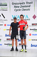 Ryan Sissons with Ethan Batt (NZ National Team) - most aggressive Stage 5 rider. Circuit of Champions, stage five of the 2019 Grassroots Trust NZ Cycle Classic UCI 2.2 Tour from Cambridge, New Zealand on Sunday, 27 January 2019. Photo: Dave Lintott / lintottphoto.co.nz