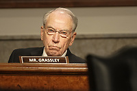 """United States Senator Chuck Grassley (Republican of Iowa) questions Former United States Deputy Attorney General Rod Rosenstein during a US Senate Judiciary Committee hearing to discuss the FBI's """"Crossfire Hurricane"""" investigation on Wednesday, June 3, 2020.<br /> Credit: Greg Nash / Pool via CNP/AdMedia"""