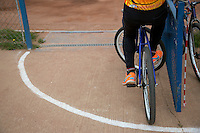 13 SEP 2014 - IPSWICH, GBR - A Wednesfield Aces team member waits for the start of the  2014 British Open Club Cycle Speedway Championships at Whitton Sports & Community Centre in Ipswich, Great Britain (PHOTO COPYRIGHT © 2014 NIGEL FARROW, ALL RIGHTS RESERVED)