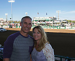 """Lance and Cathy Semenko during Purple Night at the Rodeo on Tuesday night, June 21, 2016.  """"Man Up Crusade Night"""" encouraged rodeo goers to wear purple for advocacy to stop domestic violence."""