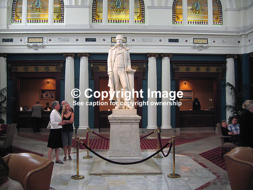 Thomas Jefferson, statue, lobby, Jefferson Hotel, Richmond, Virginia, USA, 200705200338. ..Copyright Image from Victor Patterson, 54 Dorchester Park, Belfast, UK, BT9 6RJ..Tel: +44 28 9066 1296.Mob: +44 7802 353836.Voicemail +44 20 8816 7153.Skype: victorpattersonbelfast.Email: victorpatterson@mac.com.Email: victorpatterson@ireland.com (back-up)..IMPORTANT: If you wish to use this image or any other of my images please go to www.victorpatterson.com and click on the Terms & Conditions. Then contact me by email or phone with the reference number(s) of the image(s) concerned.