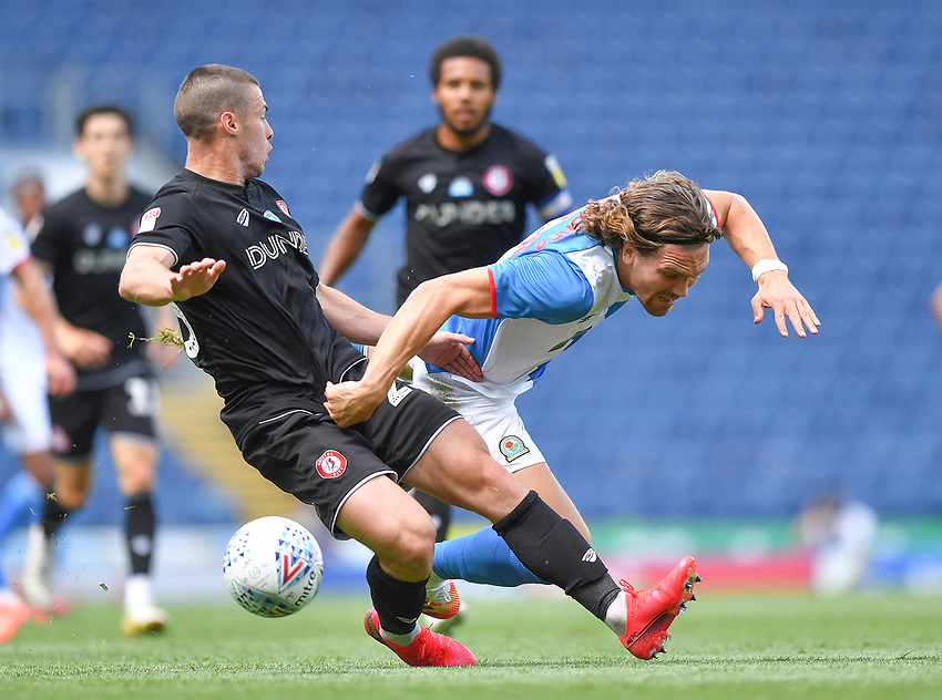 Blackburn Rovers' Sam Gallagher is fouled by  Bristol City's Tommy Rowe<br /> <br /> Photographer Dave Howarth/CameraSport<br /> <br /> The EFL Sky Bet Championship - Blackburn Rovers v Bristol City - Saturday 20th June 2020 - Ewood Park - Blackburn<br /> <br /> World Copyright © 2020 CameraSport. All rights reserved. 43 Linden Ave. Countesthorpe. Leicester. England. LE8 5PG - Tel: +44 (0) 116 277 4147 - admin@camerasport.com - www.camerasport.com