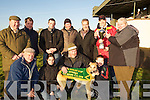 "BAILY CUP: Michael Flaherty whos dog ""Mike Drisheen"" who won the Baily Cup at Tralee Coursing on Sunday and the cup was presented to him by Brendan Nolan and Timmy O'Dowd of Dowdies (sponsor of the cup) at Ballybeggan Racecourse, Tralee. L-r: Kevin Gleeson, Raymond Allen, Sean Cronin,Linsey Edwards, Pat McCarthy, Paddy Flaherty, Joe Joe Daly, Aaron Murnane, Timmy Dowd, Brendan Nolan and Mike Flaherty... ...."