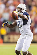 Landover, MD - SEPT 3, 2017: West Virginia Mountaineers wide receiver Gary Jennings (12) is fired up after a catch leading to a first down during game between West Virginia and Virginia Tech at FedEx Field in Landover, MD. (Photo by Phil Peters/Media Images International)