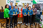 Scoil Eoin Balloonagh NS students, took 3rd place in the U13 quiz at the Cara Credit Union Quiz in the Brandon Hotel on Sunday. <br /> Students l to r: Kai Seino, David Slattery, Tadgh Horan, Louie Pee and Rena O&rsquo;Connell (Teacher) with Siobhan Donnelly and Pa Laide (Manager Cara Credit Union) and Caroline Sugrue (Cara Credit Union)