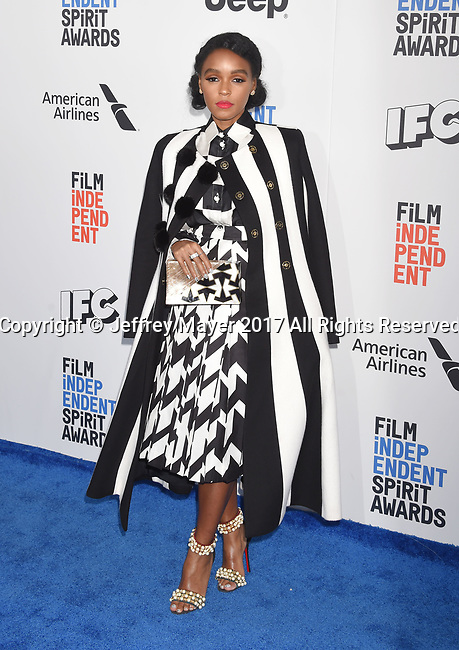 SANTA MONICA, CA - FEBRUARY 25: Actress/singer Janelle Monae attends the 2017 Film Independent Spirit Awards at the Santa Monica Pier on February 25, 2017 in Santa Monica, California.