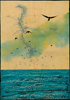 Mixed media photography with antique map  of Antarctica and encaustic painting of birds flying over the ocean