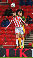 Preston North End's Patrick Bauer and Stoke City's Nick Powell jump for the ball<br /> <br /> Photographer Dave Howarth/CameraSport<br /> <br /> The EFL Sky Bet Championship - Stoke City v Preston North End - Wednesday 12th February 2020 - bet365 Stadium - Stoke-on-Trent <br /> <br /> World Copyright © 2020 CameraSport. All rights reserved. 43 Linden Ave. Countesthorpe. Leicester. England. LE8 5PG - Tel: +44 (0) 116 277 4147 - admin@camerasport.com - www.camerasport.com