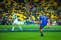 Robert Du Preez kicks for goal during the Super Rugby match between the Hurricanes and Stormers at Westpac Stadium in Wellington, New Zealand on Friday, 5 May 2017. Photo: Dave Lintott / lintottphoto.co.nz