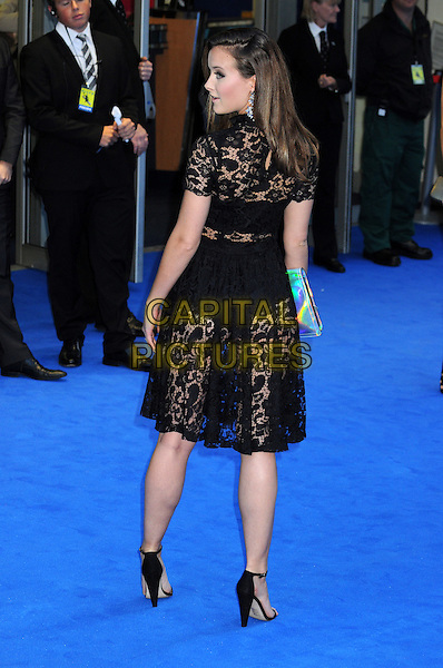 April Pearson<br /> Arrivals to 'Filth' UK Film Premiere at Odeon West End, London, England.<br /> 30th September 2013<br /> full length black lace dress see through thru bra knickers underwear back behind rear looking over shoulder <br /> CAP/PP/BK<br /> &copy;Bob Kent/PP/Capital Pictures