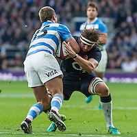 Tom Wood tackles Santiago Cordero, England v Argentina in an Old Mutual Wealth Series, Autumn International match at Twickenham Stadium, London, England, on 26th November 2016. Full Time score 27-14