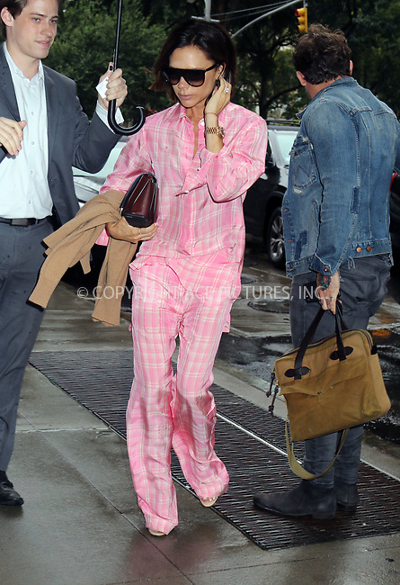 www.acepixs.com<br /> <br /> August 29 2017, New York City<br /> <br /> Victoria Beckham wears pink pyjamas as she arrives at her midtown hotel on August 29 2017 in New York City<br /> <br /> By Line: Philip Vaughan/ACE Pictures<br /> <br /> <br /> ACE Pictures Inc<br /> Tel: 6467670430<br /> Email: info@acepixs.com<br /> www.acepixs.com