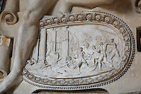 Battle scene with decorative shell border in carved stucco from the frame of the Disappointed Venus fresco by Rosso Fiorentino, 1535-37, in the Galerie Francois I, begun 1528, the first great gallery in France and the origination of the Renaissance style in France, Chateau de Fontainebleau, France. The Palace of Fontainebleau is one of the largest French royal palaces and was begun in the early 16th century for Francois I. It was listed as a UNESCO World Heritage Site in 1981. Picture by Manuel Cohen