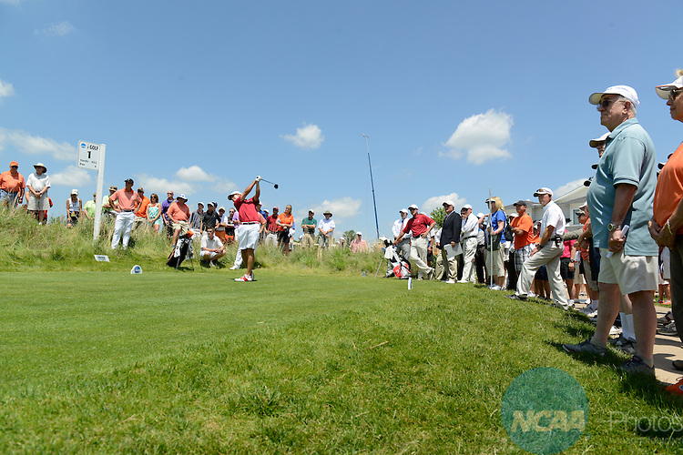 28 MAY 2014: Bobby Wyatt of the University of Alabama tees off of hole #1 at Prairie Dunes in Hutchinson, KS during the 2014 NCAA D1 Men's Golf Championship. Alabama went on to win the match play at todays final rounds. <br /> Evert Nelson/NCAA Photos