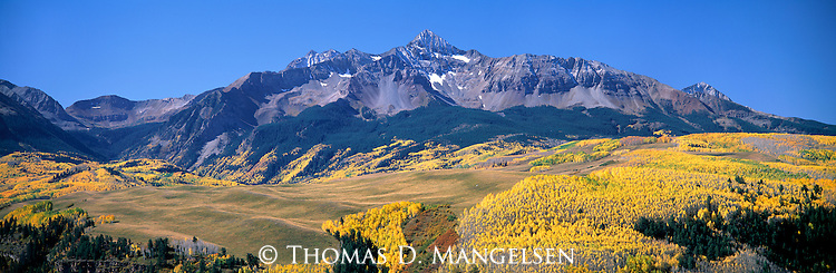 Fall color below the San Juan Mountains near Telluride, Colorado.