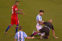 Action photo during the match Argentina vs Chile corresponding to the Final of America Cup Centenary 2016, at MetLife Stadium.<br /> <br /> Foto durante al partido Argentina vs Chile cprresponidente a la Final de la Copa America Centenario USA 2016 en el Estadio MetLife , en la foto:(i-d)Lionel Messi de Argentina y Arturo Vidal de Chile<br /> <br /> <br /> 26/06/2016/MEXSPORT/JAVIER RAMIREZ