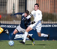 Austin Martz (2) of Georgetown fights for the ball with Jason Gaylord (2) of Old Dominion during the second round of the NCAA tournament at Shaw Field in Washington, DC. Georgeotown defeated Old Dominion, 3-0.