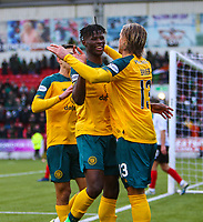 9th February 2020; Broadwood Stadium, Cumbernauld, North Lanarkshire, Scotland; Scottish Cup Football, Clyde versus Celtic; Vakoun Issouf Bayo of Celtic celebrates after he makes it 3-0 to Celtic in the 90th minute