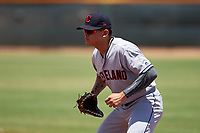 AZL Indians Red first baseman Joe Naranjo (24) during an Arizona League game against the AZL Indians Blue on July 7, 2019 at the Cleveland Indians Spring Training Complex in Goodyear, Arizona. The AZL Indians Blue defeated the AZL Indians Red 5-4. (Zachary Lucy/Four Seam Images)