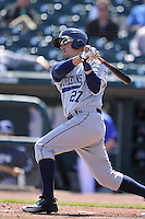 New Orleans Zephyrs Zach Lutz (27) swings during the game against the Iowa Cubs  at Principal Park on April 13, 2016 in Des Moines, Iowa.  The Cubs won 9-5 .  (Dennis Hubbard/Four Seam Images)