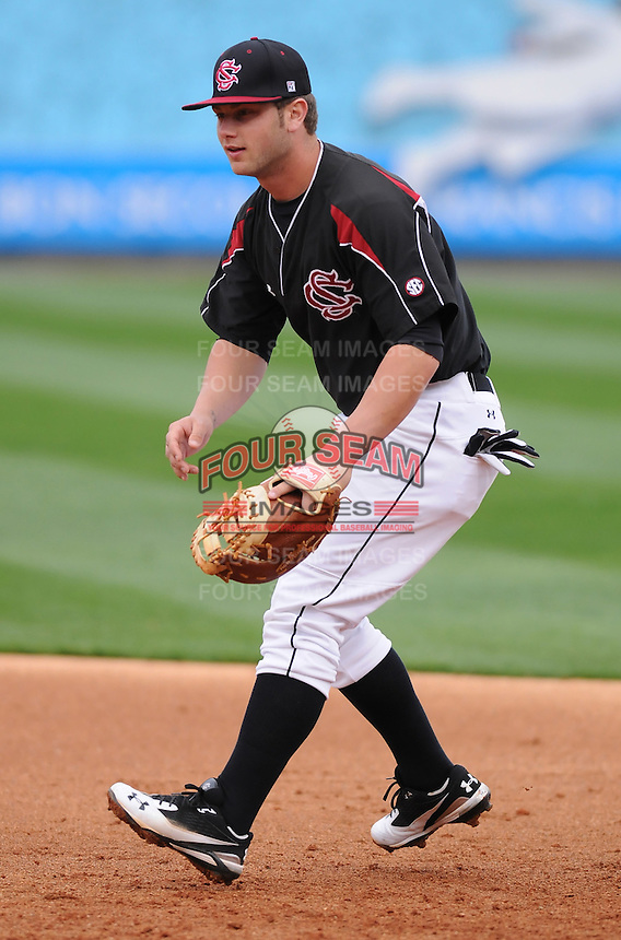 First baseman Christian Walker (13) of the South Carolina Gamecocks prior to a game against the Clemson Tigers on Tuesday, March 8, 2011, at Fluor Field in Greenville, S.C.  Photo by Tom Priddy / Four Seam Images