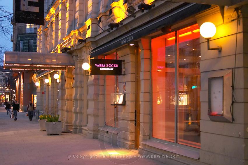 The front windows at night dusk of the high class gastronomic restaurant Vassa Eggen (the sharp edge) Stockholm, Sweden, Sverige, Europe