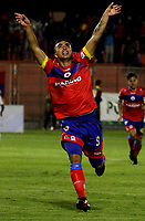 PASTO - COLOMBIA - 11 - 02 - 2018: Dario Rodriguez, jugador de Deportivo Pasto celebra el gol anotado a Atletico Junior, durante partido Deportivo Pasto y Atletico Junior, de la fecha 2 por la Liga Aguila I 2018, jugado en el estadio Departamental Libertad de la ciudad de Pasto.  / Dario Rodriguez, player of Deportivo Pasto celebrates a scored goal to Atletico Junior, during a match Deportivo Pasto and Atletico Junior, of the 2nd date for the Liga Aguila I 2018 at the Departamental Libertad stadium in Pasto city. Photo: VizzorImage. / Leonardo Castro / Cont.