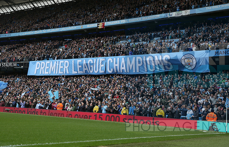 Banners proclaiming the team as Premier League champions during the premier league match at the Etihad Stadium, Manchester. Picture date 22nd April 2018. Picture credit should read: Simon Bellis/Sportimage