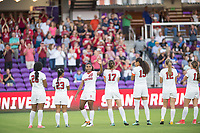Orlando, FL - Friday December 01, 2017: Madison Haley, Kiki Pickett, Catarina Macario, Andi Sullivan, Alana Cook, Kyra Carusa, Jordan DiBiasi during the NCAA Semi-Final match between the Stanford Cardinal and the South Carolina Gamecocks at Orlando City Stadium.