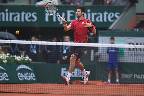 31.05.2016. Roland Garros, Paris, France. French Open tennis tournament. Serbian Novak Djokovic during his rain delayed match against Roberto Bautista Agut