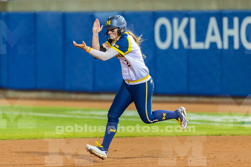The University of Michigan women's softball team,7-5 loss to Oklahoma University in Game 2 of the Women's College World Series at the ASA Hall of Fame Stadium in Oklahoma City,Okla. on 6/04/16.