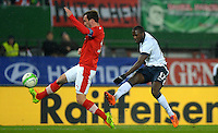 VIENNA, Austria - November 19, 2013: Jozy Altidore of USA and Christian Fuchs of Austria during the international friendly match between Austria and the USA at Ernst-Happel-Stadium.