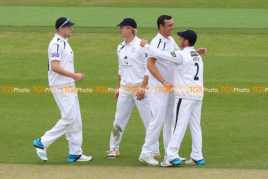 Kyle Abbott of Hampshire (2nd R) celebrates the wicket of Reece Topley - Hampshire CCC vs Essex CCC - LV County Championship Division Two Cricket at the Ageas Bowl, West End, Southampton - 16/06/14 - MANDATORY CREDIT: Gavin Ellis/TGSPHOTO - Self billing applies where appropriate - 0845 094 6026 - contact@tgsphoto.co.uk - NO UNPAID USE