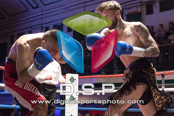 Josh Kennedy VS Ignac Kassai - Featherweight Contest. Photo by: Simon Downing.<br /> <br /> Goodwin Boxing: Paddy's Day Punch Up - Saturday 19th March 2016. York Hall, Bethnal Green, London, United Kingdom.