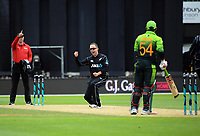 Todd Astle celebrates dismissing Sarfraz Ahmed  during the One Day International cricket match between the NZ Black Caps and Pakistan at the Basin Reserve in Wellington, New Zealand on Saturday, 6 January 2018. Photo: Dave Lintott / lintottphoto.co.nz