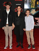 "Carrie-Anne Moss & sons Jaden Roy & Owen Roy at the world premiere for ""Star Wars: The Last Jedi"" at The Shrine Auditorium. Los Angeles, USA 09 December  2017<br /> Picture: Paul Smith/Featureflash/SilverHub 0208 004 5359 sales@silverhubmedia.com"