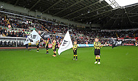 Sunday, 26 April 2014<br /> Pictured: Children's guard of honour.<br /> Re: Barclay's Premier League, Swansea City FC v Aston Villa at the Liberty Stadium, south Wales.